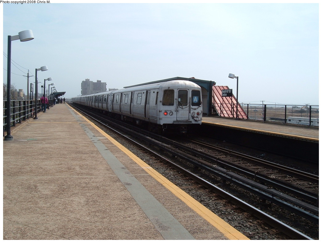 (226k, 1044x788)<br><b>Country:</b> United States<br><b>City:</b> New York<br><b>System:</b> New York City Transit<br><b>Line:</b> IND Rockaway<br><b>Location:</b> Beach 67th Street/Gaston Avenue <br><b>Route:</b> A<br><b>Car:</b> R-44 (St. Louis, 1971-73) 5386 <br><b>Photo by:</b> Chris M.<br><b>Date:</b> 4/21/2008<br><b>Viewed (this week/total):</b> 0 / 1406