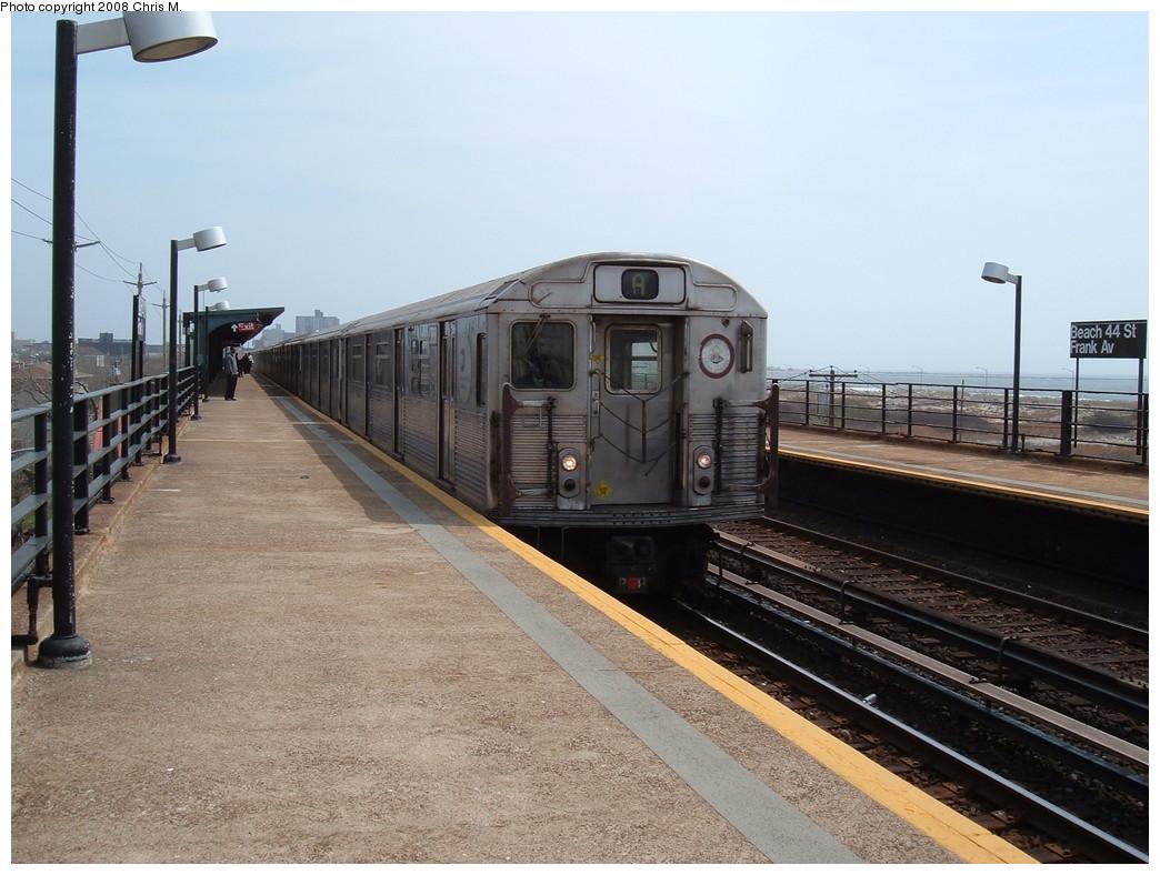 (226k, 1044x788)<br><b>Country:</b> United States<br><b>City:</b> New York<br><b>System:</b> New York City Transit<br><b>Line:</b> IND Rockaway<br><b>Location:</b> Beach 44th Street/Frank Avenue <br><b>Route:</b> A<br><b>Car:</b> R-38 (St. Louis, 1966-1967)  3958 <br><b>Photo by:</b> Chris M.<br><b>Date:</b> 4/21/2008<br><b>Viewed (this week/total):</b> 1 / 1424