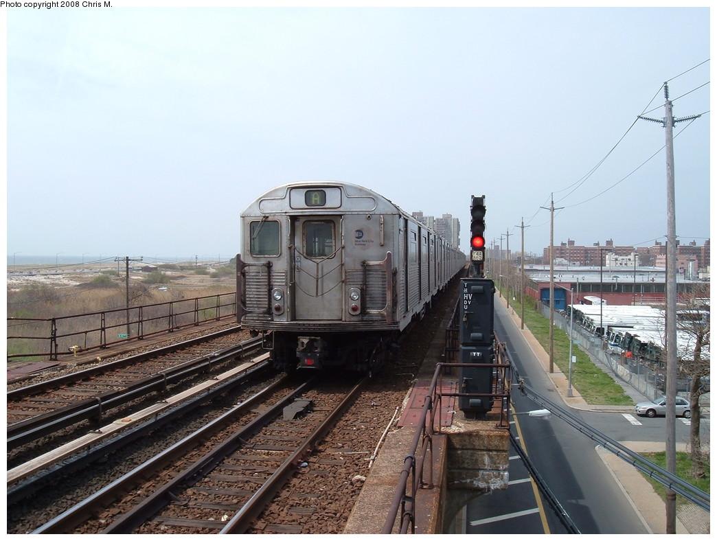 (225k, 1044x788)<br><b>Country:</b> United States<br><b>City:</b> New York<br><b>System:</b> New York City Transit<br><b>Line:</b> IND Rockaway<br><b>Location:</b> Beach 44th Street/Frank Avenue <br><b>Route:</b> A<br><b>Car:</b> R-38 (St. Louis, 1966-1967)  4026 <br><b>Photo by:</b> Chris M.<br><b>Date:</b> 4/21/2008<br><b>Viewed (this week/total):</b> 0 / 1633