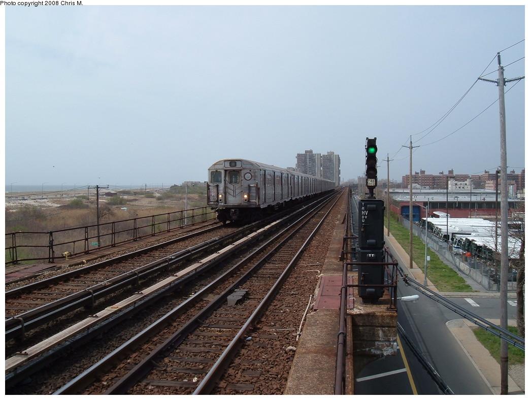 (221k, 1044x788)<br><b>Country:</b> United States<br><b>City:</b> New York<br><b>System:</b> New York City Transit<br><b>Line:</b> IND Rockaway<br><b>Location:</b> Beach 44th Street/Frank Avenue <br><b>Route:</b> A<br><b>Car:</b> R-38 (St. Louis, 1966-1967)  4057 <br><b>Photo by:</b> Chris M.<br><b>Date:</b> 4/21/2008<br><b>Viewed (this week/total):</b> 0 / 1563
