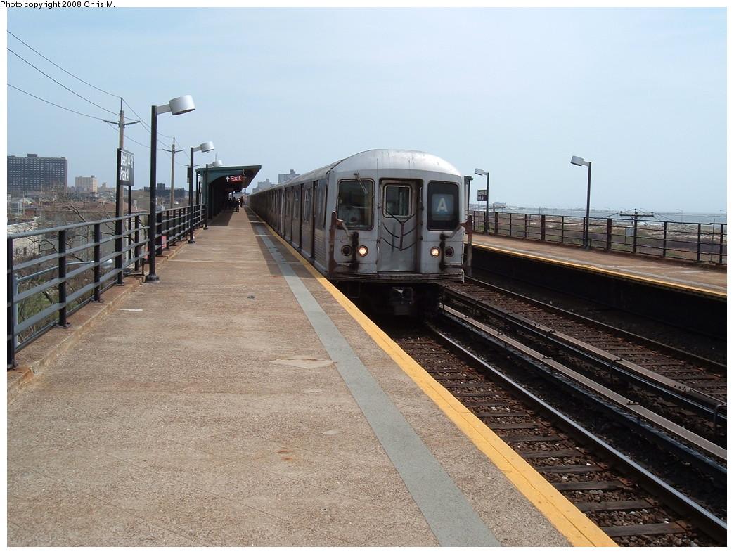 (246k, 1044x788)<br><b>Country:</b> United States<br><b>City:</b> New York<br><b>System:</b> New York City Transit<br><b>Line:</b> IND Rockaway<br><b>Location:</b> Beach 44th Street/Frank Avenue <br><b>Route:</b> A<br><b>Car:</b> R-42 (St. Louis, 1969-1970)  4570 <br><b>Photo by:</b> Chris M.<br><b>Date:</b> 4/21/2008<br><b>Viewed (this week/total):</b> 0 / 1682