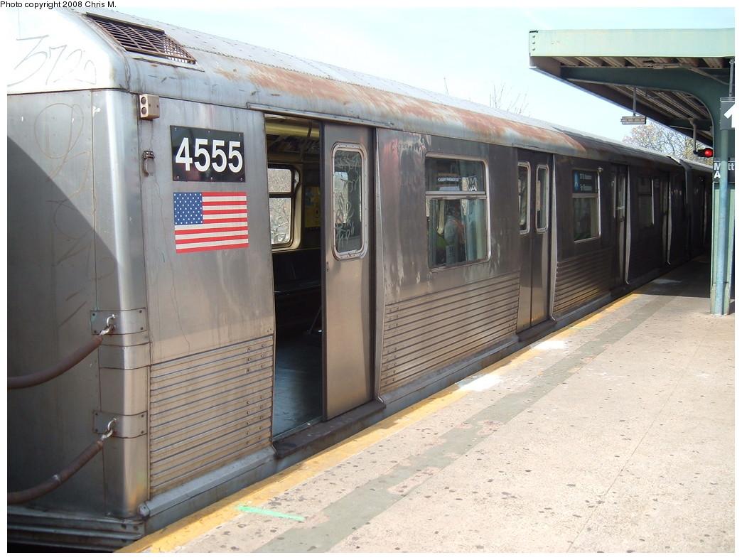 (224k, 1044x788)<br><b>Country:</b> United States<br><b>City:</b> New York<br><b>System:</b> New York City Transit<br><b>Line:</b> IND Rockaway<br><b>Location:</b> Mott Avenue/Far Rockaway <br><b>Route:</b> A<br><b>Car:</b> R-42 (St. Louis, 1969-1970)  4555 <br><b>Photo by:</b> Chris M.<br><b>Date:</b> 4/21/2008<br><b>Viewed (this week/total):</b> 0 / 1361