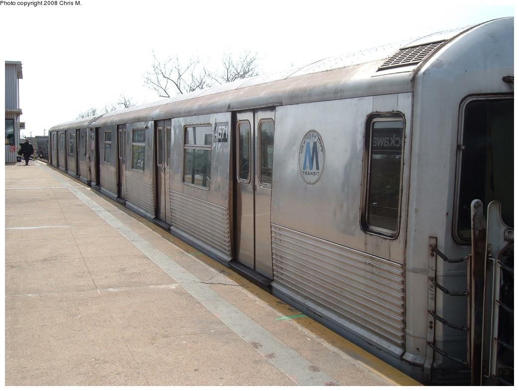 (216k, 1044x788)<br><b>Country:</b> United States<br><b>City:</b> New York<br><b>System:</b> New York City Transit<br><b>Line:</b> IND Rockaway<br><b>Location:</b> Mott Avenue/Far Rockaway <br><b>Route:</b> A<br><b>Car:</b> R-42 (St. Louis, 1969-1970)  4571 <br><b>Photo by:</b> Chris M.<br><b>Date:</b> 4/21/2008<br><b>Viewed (this week/total):</b> 0 / 1492