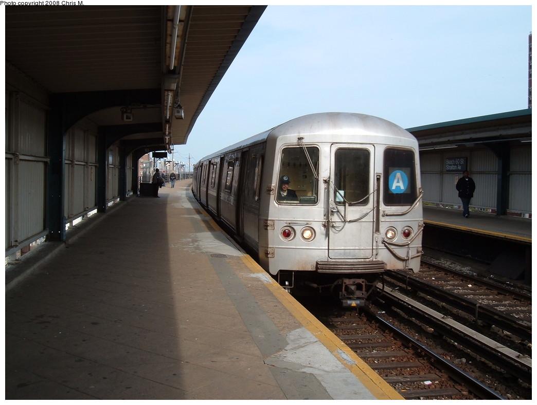 (184k, 1044x788)<br><b>Country:</b> United States<br><b>City:</b> New York<br><b>System:</b> New York City Transit<br><b>Line:</b> IND Rockaway<br><b>Location:</b> Beach 60th Street/Straiton <br><b>Route:</b> A<br><b>Car:</b> R-44 (St. Louis, 1971-73)  <br><b>Photo by:</b> Chris M.<br><b>Date:</b> 4/21/2008<br><b>Viewed (this week/total):</b> 0 / 1469