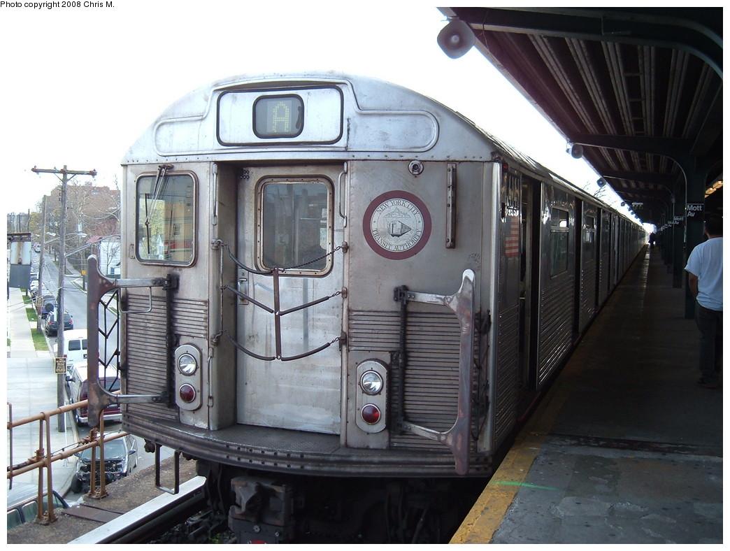 (227k, 1044x788)<br><b>Country:</b> United States<br><b>City:</b> New York<br><b>System:</b> New York City Transit<br><b>Line:</b> IND Rockaway<br><b>Location:</b> Mott Avenue/Far Rockaway <br><b>Route:</b> A<br><b>Car:</b> R-38 (St. Louis, 1966-1967)  4141 <br><b>Photo by:</b> Chris M.<br><b>Date:</b> 4/21/2008<br><b>Viewed (this week/total):</b> 0 / 1304