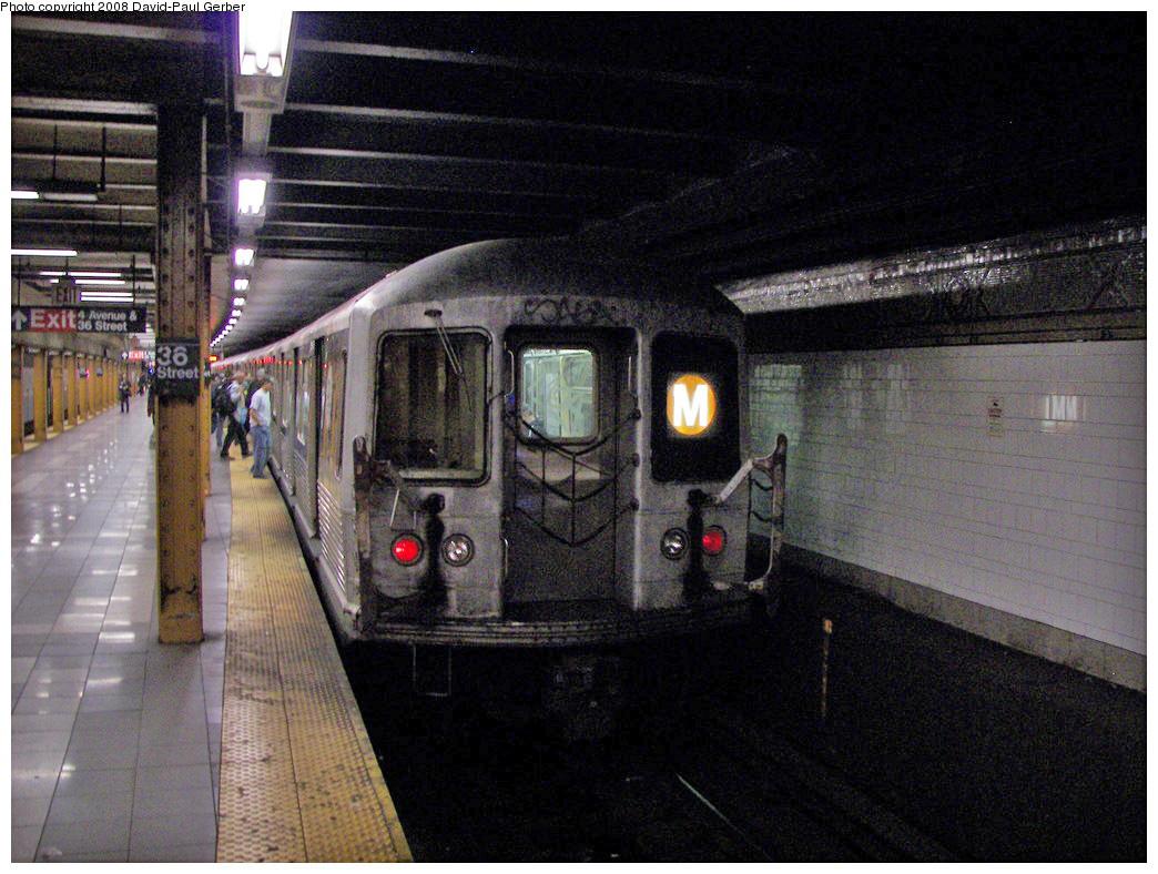 (304k, 1044x788)<br><b>Country:</b> United States<br><b>City:</b> New York<br><b>System:</b> New York City Transit<br><b>Line:</b> BMT 4th Avenue<br><b>Location:</b> 36th Street <br><b>Route:</b> M<br><b>Car:</b> R-42 (St. Louis, 1969-1970)   <br><b>Photo by:</b> David-Paul Gerber<br><b>Date:</b> 4/22/2008<br><b>Viewed (this week/total):</b> 0 / 2344