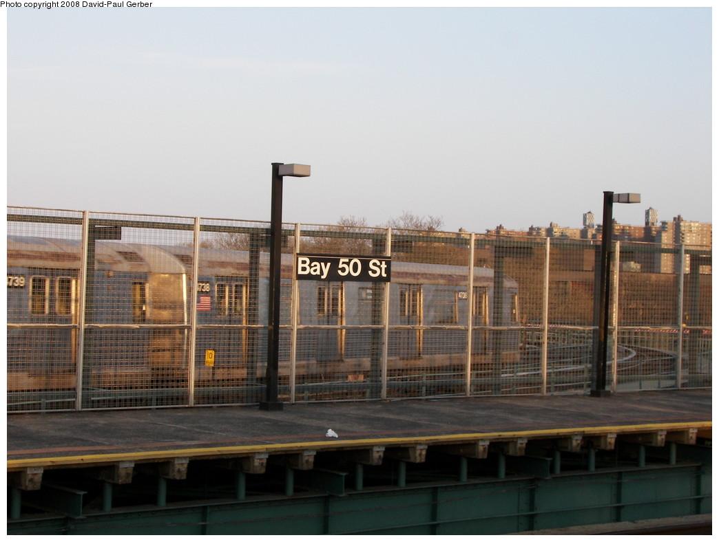 (226k, 1044x788)<br><b>Country:</b> United States<br><b>City:</b> New York<br><b>System:</b> New York City Transit<br><b>Line:</b> BMT West End Line<br><b>Location:</b> Bay 50th Street <br><b>Route:</b> M<br><b>Car:</b> R-42 (St. Louis, 1969-1970)  4738 <br><b>Photo by:</b> David-Paul Gerber<br><b>Date:</b> 4/22/2008<br><b>Viewed (this week/total):</b> 1 / 2046
