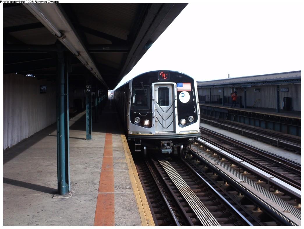 (179k, 1044x788)<br><b>Country:</b> United States<br><b>City:</b> New York<br><b>System:</b> New York City Transit<br><b>Line:</b> BMT West End Line<br><b>Location:</b> 20th Avenue <br><b>Route:</b> M<br><b>Car:</b> R-160A-1 (Alstom, 2005-2008, 4 car sets)  8357 <br><b>Photo by:</b> Rayvon Owens<br><b>Date:</b> 4/21/2008<br><b>Viewed (this week/total):</b> 0 / 1759