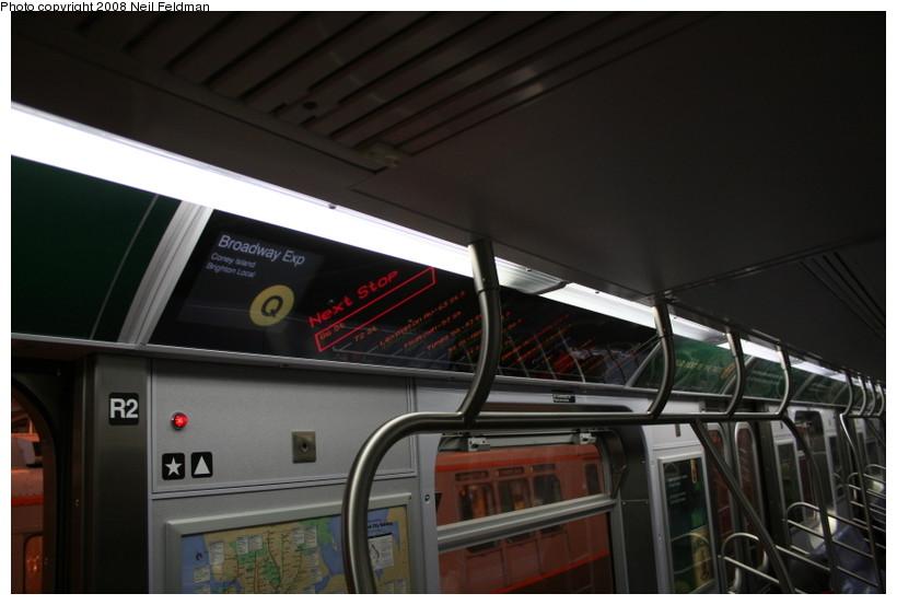 (104k, 820x553)<br><b>Country:</b> United States<br><b>City:</b> New York<br><b>System:</b> New York City Transit<br><b>Car:</b> R-160A-1 (Alstom, 2005-2008, 4 car sets)  8480 <br><b>Photo by:</b> Neil Feldman<br><b>Date:</b> 4/12/2008<br><b>Notes:</b> Showing Q route sign.<br><b>Viewed (this week/total):</b> 0 / 2229