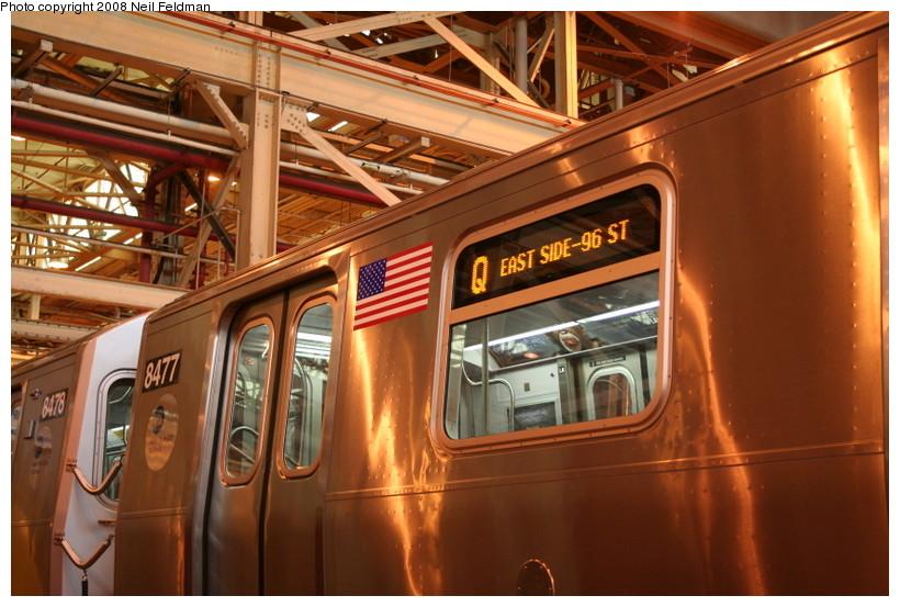 (159k, 820x553)<br><b>Country:</b> United States<br><b>City:</b> New York<br><b>System:</b> New York City Transit<br><b>Location:</b> Coney Island Shop/Overhaul & Repair Shop<br><b>Car:</b> R-160A-1 (Alstom, 2005-2008, 4 car sets)  8480 <br><b>Photo by:</b> Neil Feldman<br><b>Date:</b> 4/12/2008<br><b>Notes:</b> Showing Q route sign.<br><b>Viewed (this week/total):</b> 0 / 2608