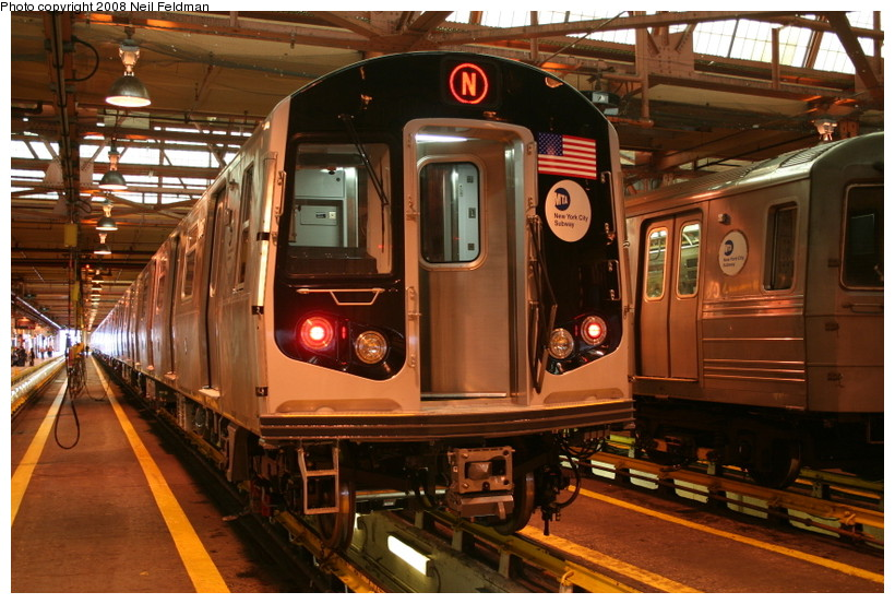 (170k, 820x553)<br><b>Country:</b> United States<br><b>City:</b> New York<br><b>System:</b> New York City Transit<br><b>Location:</b> Coney Island Shop/Overhaul & Repair Shop<br><b>Car:</b> R-160B (Kawasaki, 2005-2008)  8957 <br><b>Photo by:</b> Neil Feldman<br><b>Date:</b> 4/12/2008<br><b>Viewed (this week/total):</b> 0 / 2309