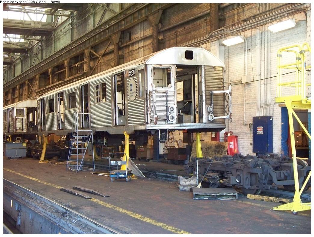 (304k, 1044x788)<br><b>Country:</b> United States<br><b>City:</b> New York<br><b>System:</b> New York City Transit<br><b>Location:</b> 207th Street Shop<br><b>Car:</b> R-32 (Budd, 1964)  3758 <br><b>Photo by:</b> Glenn L. Rowe<br><b>Date:</b> 4/24/2008<br><b>Notes:</b> Stripped for scrapping.<br><b>Viewed (this week/total):</b> 4 / 1913