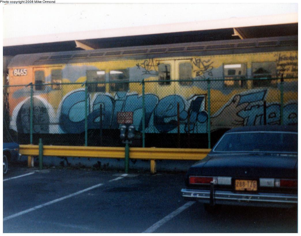 (291k, 1044x820)<br><b>Country:</b> United States<br><b>City:</b> New York<br><b>System:</b> New York City Transit<br><b>Line:</b> BMT Canarsie Line<br><b>Location:</b> Rockaway Parkway <br><b>Car:</b> R-30 (St. Louis, 1961) 8465 <br><b>Photo by:</b> Mike Ormond<br><b>Notes:</b> 1981 or 1982<br><b>Viewed (this week/total):</b> 0 / 3435