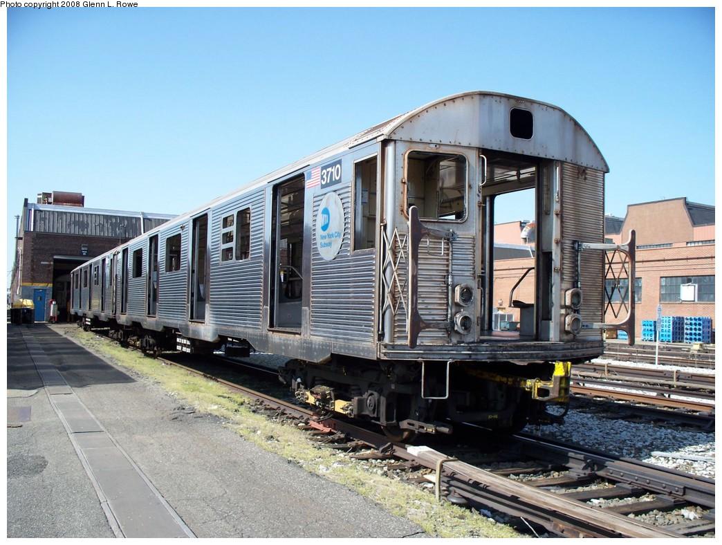 (251k, 1044x788)<br><b>Country:</b> United States<br><b>City:</b> New York<br><b>System:</b> New York City Transit<br><b>Location:</b> 207th Street Yard<br><b>Car:</b> R-32 (Budd, 1964)  3710 <br><b>Photo by:</b> Glenn L. Rowe<br><b>Date:</b> 4/24/2008<br><b>Viewed (this week/total):</b> 0 / 1421