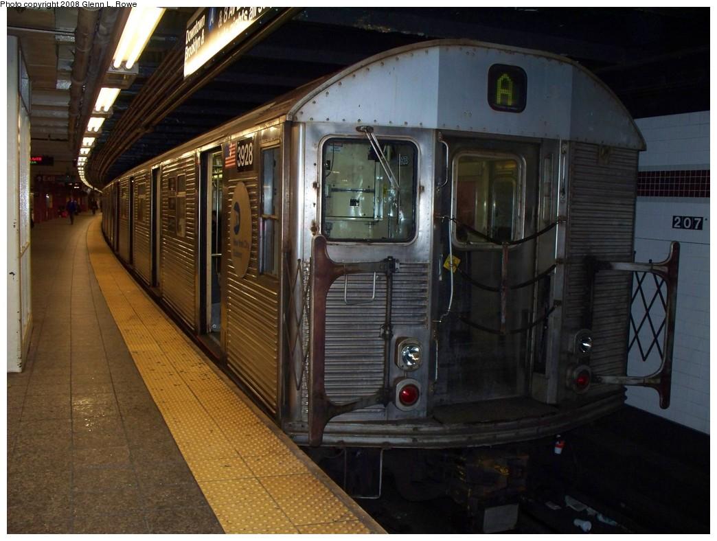(210k, 1044x788)<br><b>Country:</b> United States<br><b>City:</b> New York<br><b>System:</b> New York City Transit<br><b>Line:</b> IND 8th Avenue Line<br><b>Location:</b> 207th Street <br><b>Route:</b> A<br><b>Car:</b> R-32 (Budd, 1964)  3928 <br><b>Photo by:</b> Glenn L. Rowe<br><b>Date:</b> 4/28/2008<br><b>Viewed (this week/total):</b> 0 / 1309