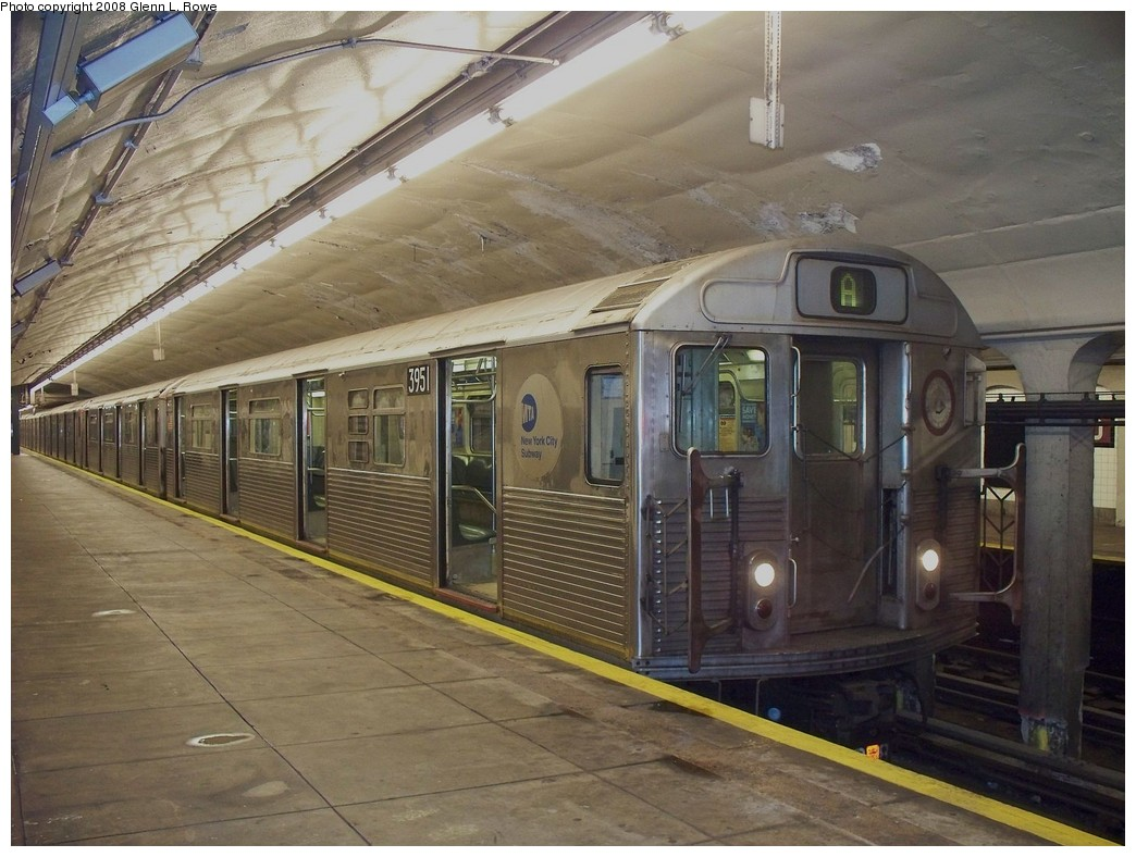 (221k, 1044x788)<br><b>Country:</b> United States<br><b>City:</b> New York<br><b>System:</b> New York City Transit<br><b>Line:</b> IND 8th Avenue Line<br><b>Location:</b> 190th Street/Overlook Terrace <br><b>Route:</b> A<br><b>Car:</b> R-38 (St. Louis, 1966-1967)  3951 <br><b>Photo by:</b> Glenn L. Rowe<br><b>Date:</b> 4/24/2008<br><b>Viewed (this week/total):</b> 1 / 1477