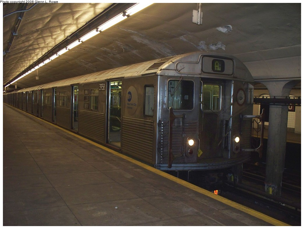 (190k, 1044x788)<br><b>Country:</b> United States<br><b>City:</b> New York<br><b>System:</b> New York City Transit<br><b>Line:</b> IND 8th Avenue Line<br><b>Location:</b> 190th Street/Overlook Terrace <br><b>Route:</b> A<br><b>Car:</b> R-38 (St. Louis, 1966-1967)  3958 <br><b>Photo by:</b> Glenn L. Rowe<br><b>Date:</b> 4/16/2008<br><b>Viewed (this week/total):</b> 3 / 1690