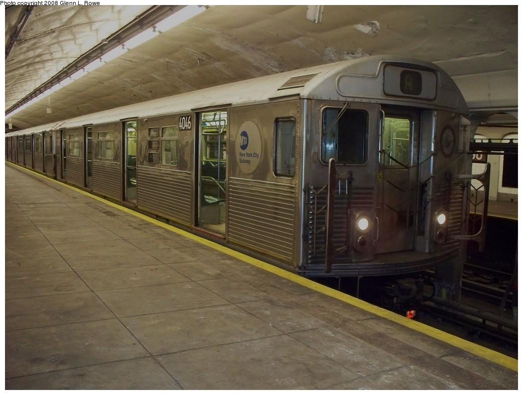 (206k, 1044x788)<br><b>Country:</b> United States<br><b>City:</b> New York<br><b>System:</b> New York City Transit<br><b>Line:</b> IND 8th Avenue Line<br><b>Location:</b> 190th Street/Overlook Terrace <br><b>Route:</b> A<br><b>Car:</b> R-38 (St. Louis, 1966-1967)  4046 <br><b>Photo by:</b> Glenn L. Rowe<br><b>Date:</b> 4/28/2008<br><b>Viewed (this week/total):</b> 0 / 1783