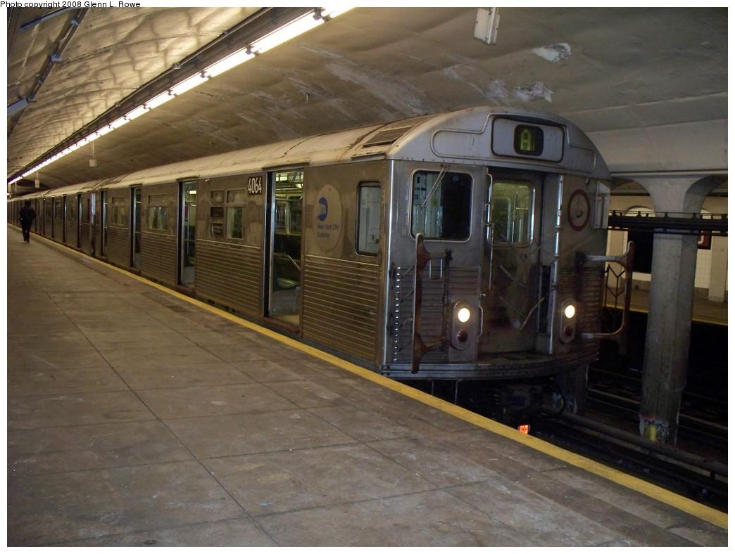 (201k, 1044x788)<br><b>Country:</b> United States<br><b>City:</b> New York<br><b>System:</b> New York City Transit<br><b>Line:</b> IND 8th Avenue Line<br><b>Location:</b> 190th Street/Overlook Terrace <br><b>Route:</b> A<br><b>Car:</b> R-38 (St. Louis, 1966-1967)  4064 <br><b>Photo by:</b> Glenn L. Rowe<br><b>Date:</b> 4/28/2008<br><b>Viewed (this week/total):</b> 0 / 1133