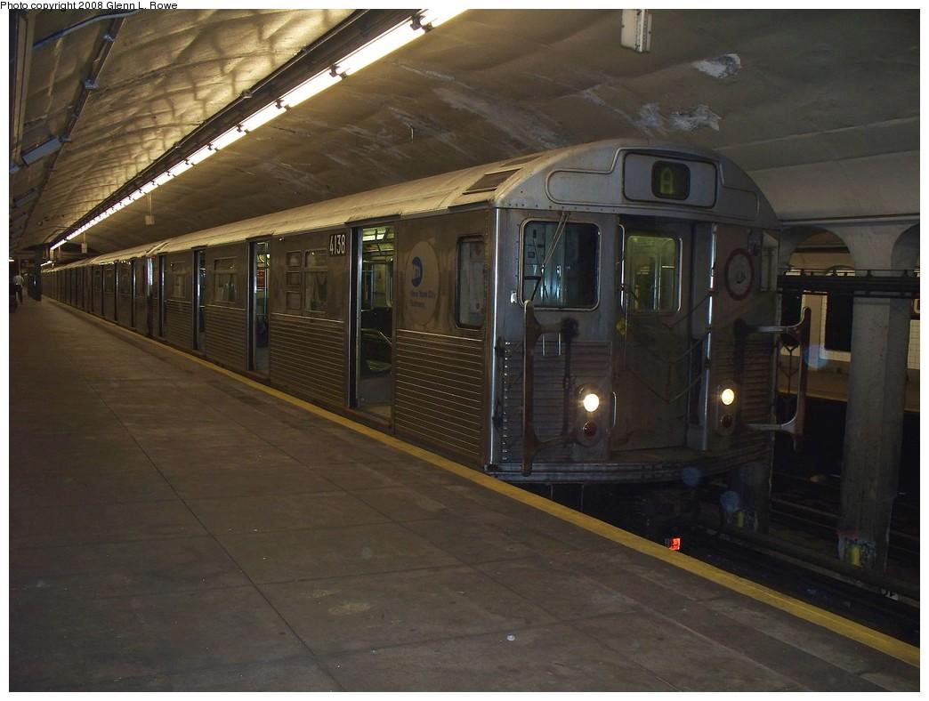 (190k, 1044x788)<br><b>Country:</b> United States<br><b>City:</b> New York<br><b>System:</b> New York City Transit<br><b>Line:</b> IND 8th Avenue Line<br><b>Location:</b> 190th Street/Overlook Terrace <br><b>Route:</b> A<br><b>Car:</b> R-38 (St. Louis, 1966-1967)  4138 <br><b>Photo by:</b> Glenn L. Rowe<br><b>Date:</b> 4/16/2008<br><b>Viewed (this week/total):</b> 3 / 1644