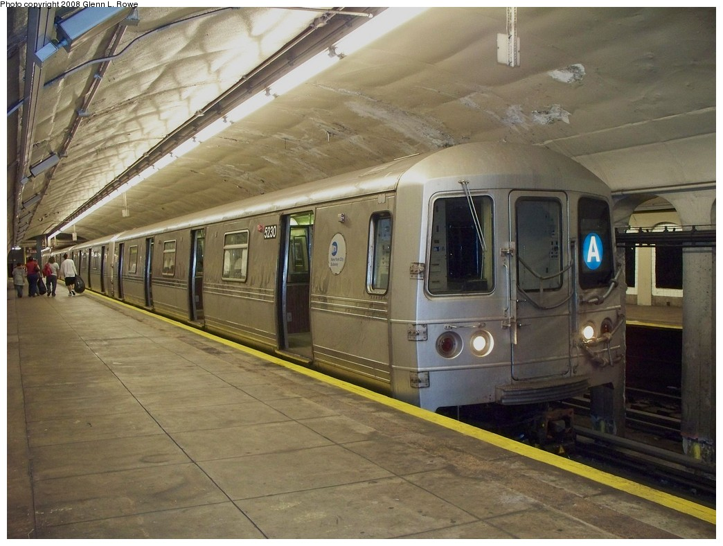 (220k, 1044x788)<br><b>Country:</b> United States<br><b>City:</b> New York<br><b>System:</b> New York City Transit<br><b>Line:</b> IND 8th Avenue Line<br><b>Location:</b> 190th Street/Overlook Terrace <br><b>Route:</b> A<br><b>Car:</b> R-44 (St. Louis, 1971-73) 5230 <br><b>Photo by:</b> Glenn L. Rowe<br><b>Date:</b> 4/24/2008<br><b>Viewed (this week/total):</b> 2 / 1798