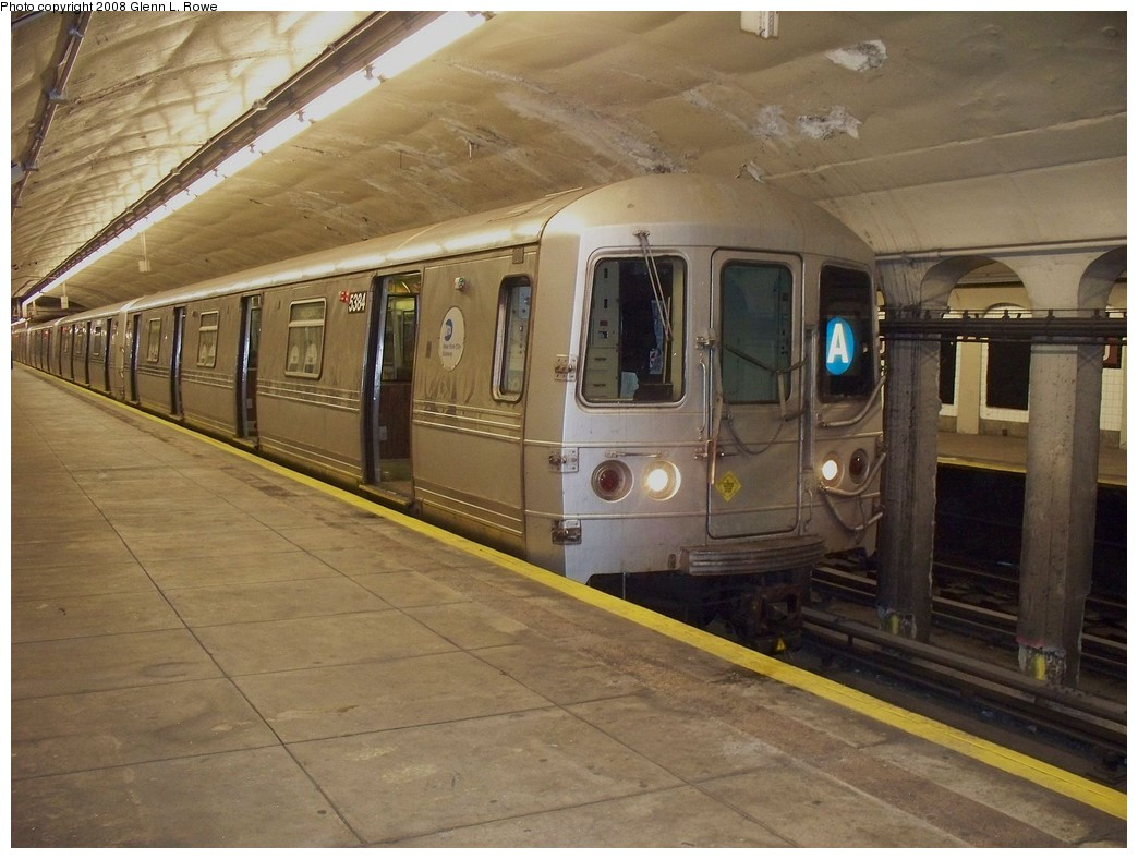 (214k, 1044x788)<br><b>Country:</b> United States<br><b>City:</b> New York<br><b>System:</b> New York City Transit<br><b>Line:</b> IND 8th Avenue Line<br><b>Location:</b> 190th Street/Overlook Terrace <br><b>Route:</b> A<br><b>Car:</b> R-44 (St. Louis, 1971-73) 5384 <br><b>Photo by:</b> Glenn L. Rowe<br><b>Date:</b> 4/21/2008<br><b>Viewed (this week/total):</b> 2 / 1616
