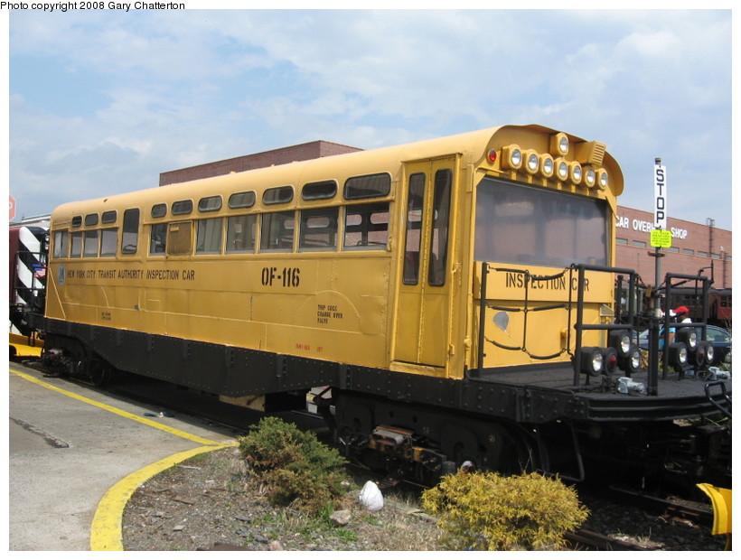 (141k, 820x620)<br><b>Country:</b> United States<br><b>City:</b> New York<br><b>System:</b> New York City Transit<br><b>Location:</b> Coney Island Yard<br><b>Car:</b> Observation Car 0F116 <br><b>Photo by:</b> Gary Chatterton<br><b>Date:</b> 4/12/2008<br><b>Viewed (this week/total):</b> 6 / 2972