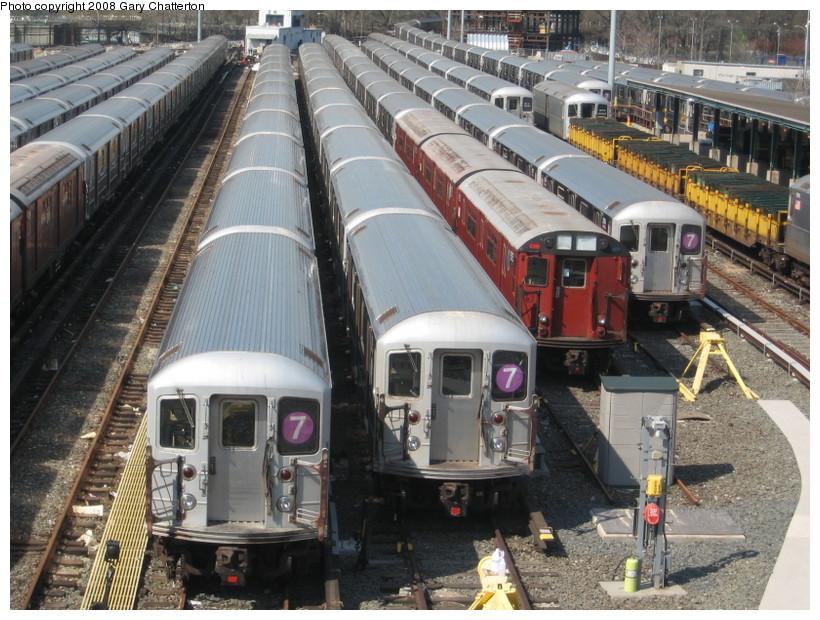 (179k, 820x620)<br><b>Country:</b> United States<br><b>City:</b> New York<br><b>System:</b> New York City Transit<br><b>Location:</b> Corona Yard<br><b>Car:</b> R-62A (Bombardier, 1984-1987)  1994/2151/2054 <br><b>Photo by:</b> Gary Chatterton<br><b>Date:</b> 4/19/2008<br><b>Notes:</b> With R33WF 9325<br><b>Viewed (this week/total):</b> 1 / 2055