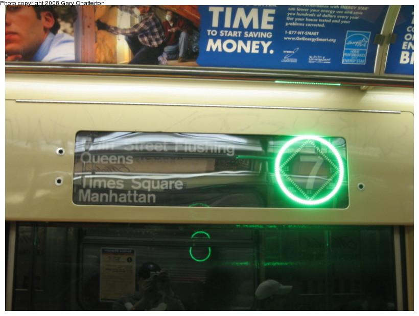 (106k, 820x620)<br><b>Country:</b> United States<br><b>City:</b> New York<br><b>System:</b> New York City Transit<br><b>Route:</b> 7<br><b>Car:</b> R-62A (Bombardier, 1984-1987)  2151 <br><b>Photo by:</b> Gary Chatterton<br><b>Date:</b> 4/26/2008<br><b>Notes:</b> Interior express/local sign.<br><b>Viewed (this week/total):</b> 0 / 1734