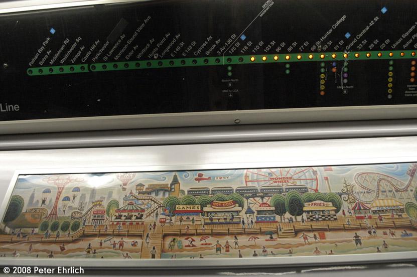 (167k, 831x552)<br><b>Country:</b> United States<br><b>City:</b> New York<br><b>System:</b> New York City Transit<br><b>Route:</b> 6<br><b>Car:</b> R-142A (Primary Order, Kawasaki, 1999-2002)  7420 <br><b>Photo by:</b> Peter Ehrlich<br><b>Date:</b> 4/25/2008<br><b>Notes:</b> Strip map.<br><b>Viewed (this week/total):</b> 2 / 2290
