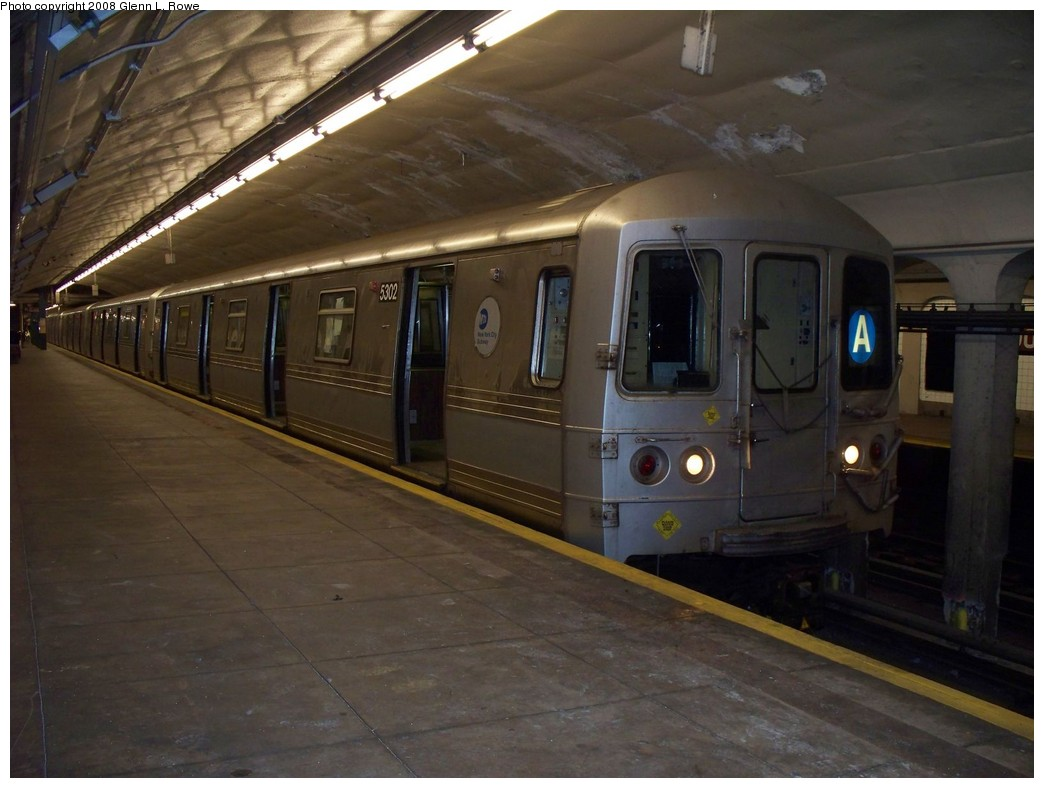 (179k, 1044x788)<br><b>Country:</b> United States<br><b>City:</b> New York<br><b>System:</b> New York City Transit<br><b>Line:</b> IND 8th Avenue Line<br><b>Location:</b> 190th Street/Overlook Terrace <br><b>Route:</b> A<br><b>Car:</b> R-44 (St. Louis, 1971-73) 5302 <br><b>Photo by:</b> Glenn L. Rowe<br><b>Date:</b> 4/30/2008<br><b>Viewed (this week/total):</b> 1 / 1684