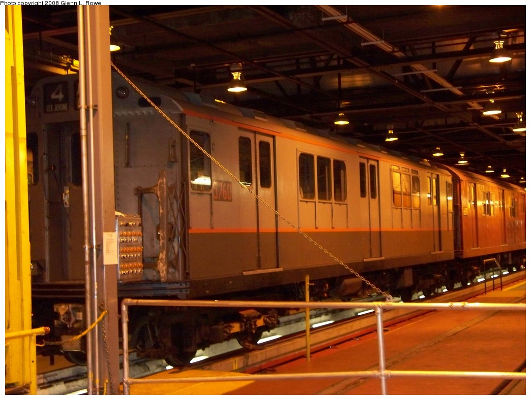 (208k, 1044x788)<br><b>Country:</b> United States<br><b>City:</b> New York<br><b>System:</b> New York City Transit<br><b>Location:</b> 207th Street Shop<br><b>Car:</b> R-12 (American Car & Foundry, 1948) 5760 <br><b>Photo by:</b> Glenn L. Rowe<br><b>Date:</b> 5/5/2008<br><b>Viewed (this week/total):</b> 0 / 1346