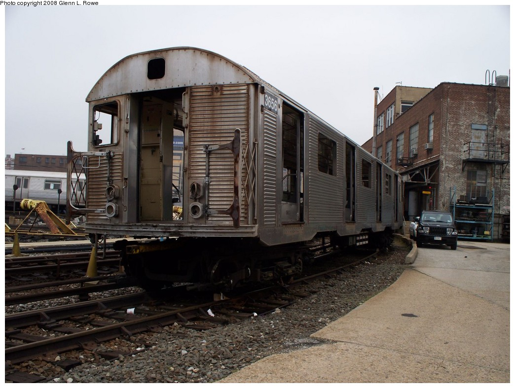 (224k, 1044x788)<br><b>Country:</b> United States<br><b>City:</b> New York<br><b>System:</b> New York City Transit<br><b>Location:</b> 207th Street Yard<br><b>Car:</b> R-32 (Budd, 1964)  3656 <br><b>Photo by:</b> Glenn L. Rowe<br><b>Date:</b> 5/2/2008<br><b>Viewed (this week/total):</b> 0 / 1253