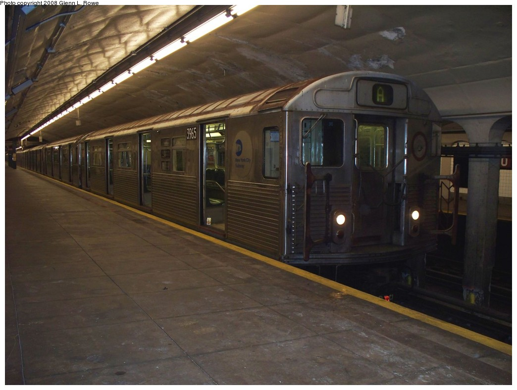 (181k, 1044x788)<br><b>Country:</b> United States<br><b>City:</b> New York<br><b>System:</b> New York City Transit<br><b>Line:</b> IND 8th Avenue Line<br><b>Location:</b> 190th Street/Overlook Terrace <br><b>Route:</b> A<br><b>Car:</b> R-38 (St. Louis, 1966-1967)  3965 <br><b>Photo by:</b> Glenn L. Rowe<br><b>Date:</b> 5/2/2008<br><b>Viewed (this week/total):</b> 1 / 1700