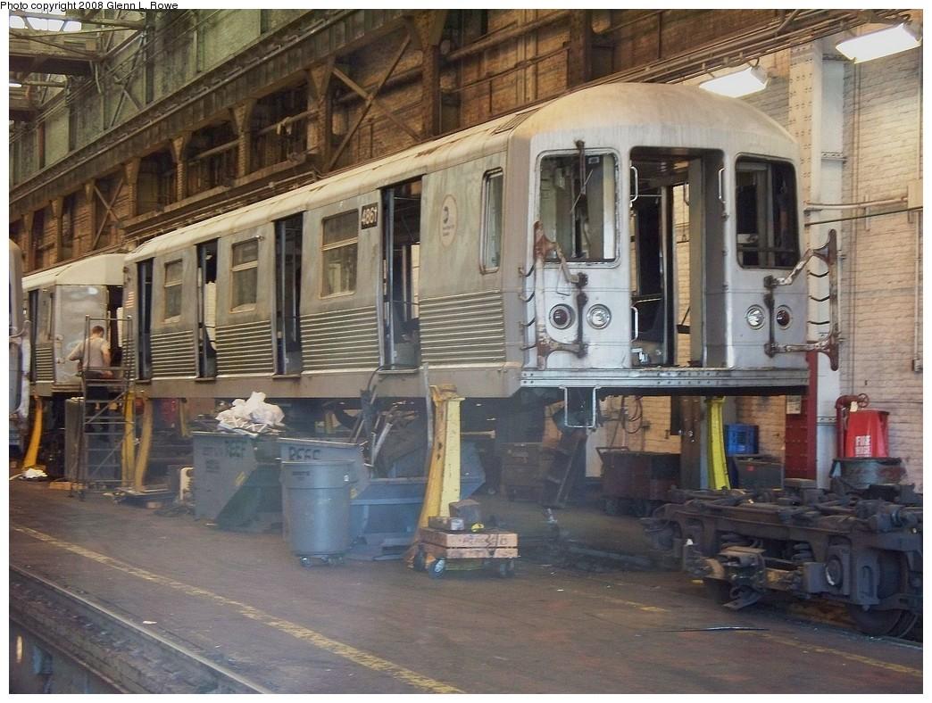 (255k, 1044x788)<br><b>Country:</b> United States<br><b>City:</b> New York<br><b>System:</b> New York City Transit<br><b>Location:</b> 207th Street Shop<br><b>Car:</b> R-42 (St. Louis, 1969-1970)  4861 <br><b>Photo by:</b> Glenn L. Rowe<br><b>Date:</b> 5/5/2008<br><b>Viewed (this week/total):</b> 1 / 1705