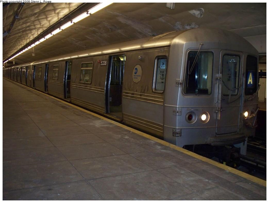 (177k, 1044x788)<br><b>Country:</b> United States<br><b>City:</b> New York<br><b>System:</b> New York City Transit<br><b>Line:</b> IND 8th Avenue Line<br><b>Location:</b> 190th Street/Overlook Terrace <br><b>Route:</b> A<br><b>Car:</b> R-44 (St. Louis, 1971-73) 5338 <br><b>Photo by:</b> Glenn L. Rowe<br><b>Date:</b> 5/5/2008<br><b>Viewed (this week/total):</b> 0 / 1616