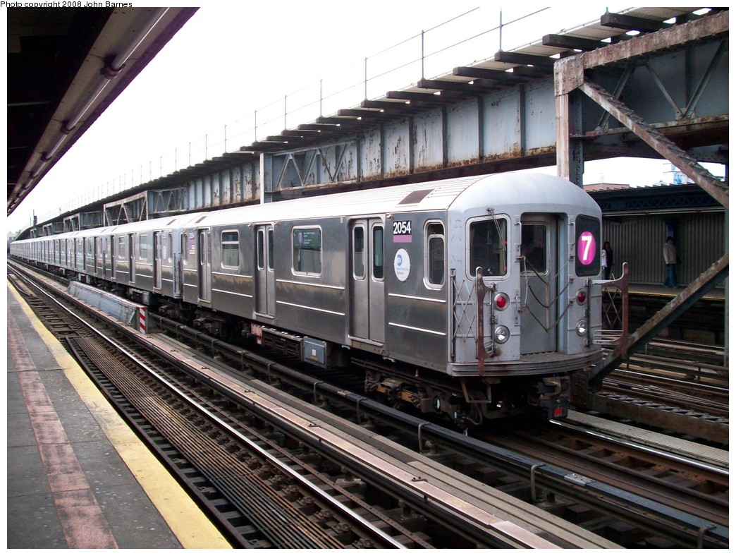 (254k, 1044x788)<br><b>Country:</b> United States<br><b>City:</b> New York<br><b>System:</b> New York City Transit<br><b>Line:</b> IRT Flushing Line<br><b>Location:</b> 111th Street <br><b>Route:</b> 7<br><b>Car:</b> R-62A (Bombardier, 1984-1987)  2054 <br><b>Photo by:</b> John Barnes<br><b>Date:</b> 4/7/2008<br><b>Viewed (this week/total):</b> 4 / 2191