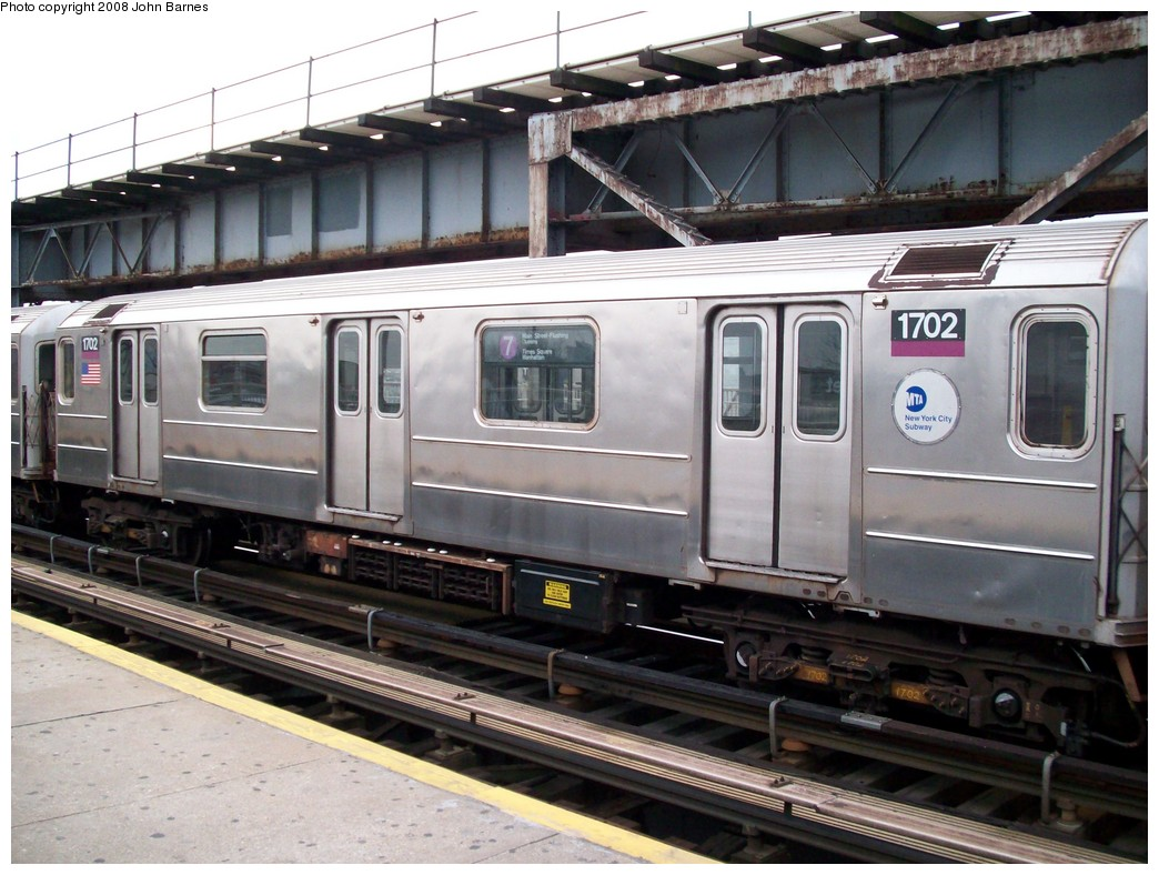 (222k, 1044x788)<br><b>Country:</b> United States<br><b>City:</b> New York<br><b>System:</b> New York City Transit<br><b>Line:</b> IRT Flushing Line<br><b>Location:</b> 111th Street <br><b>Route:</b> 7<br><b>Car:</b> R-62A (Bombardier, 1984-1987)  1702 <br><b>Photo by:</b> John Barnes<br><b>Date:</b> 4/7/2008<br><b>Viewed (this week/total):</b> 0 / 2126