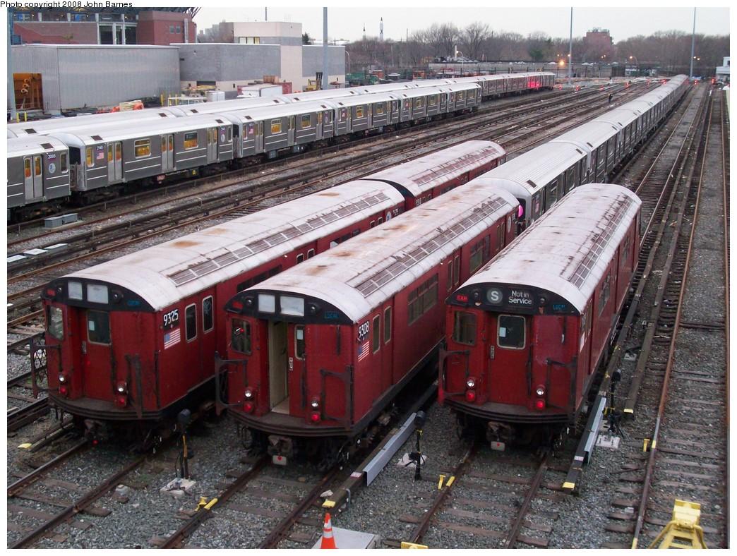 (290k, 1044x788)<br><b>Country:</b> United States<br><b>City:</b> New York<br><b>System:</b> New York City Transit<br><b>Location:</b> Corona Yard<br><b>Car:</b> R-33 World's Fair (St. Louis, 1963-64) 9325/9308/9309 <br><b>Photo by:</b> John Barnes<br><b>Date:</b> 4/7/2008<br><b>Viewed (this week/total):</b> 0 / 2207