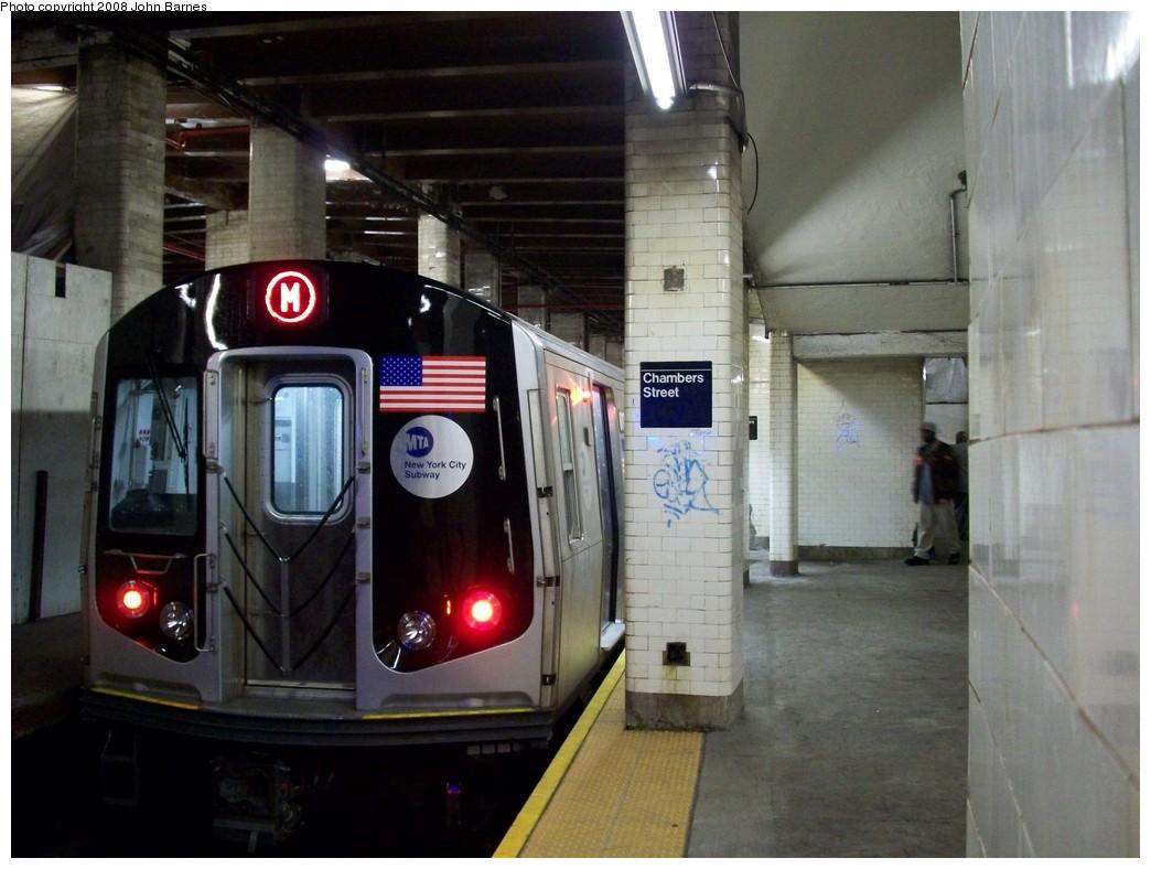(190k, 1044x788)<br><b>Country:</b> United States<br><b>City:</b> New York<br><b>System:</b> New York City Transit<br><b>Line:</b> BMT Nassau Street/Jamaica Line<br><b>Location:</b> Chambers Street <br><b>Route:</b> M<br><b>Car:</b> R-160A-1 (Alstom, 2005-2008, 4 car sets)  8392 <br><b>Photo by:</b> John Barnes<br><b>Date:</b> 4/27/2008<br><b>Viewed (this week/total):</b> 0 / 2718