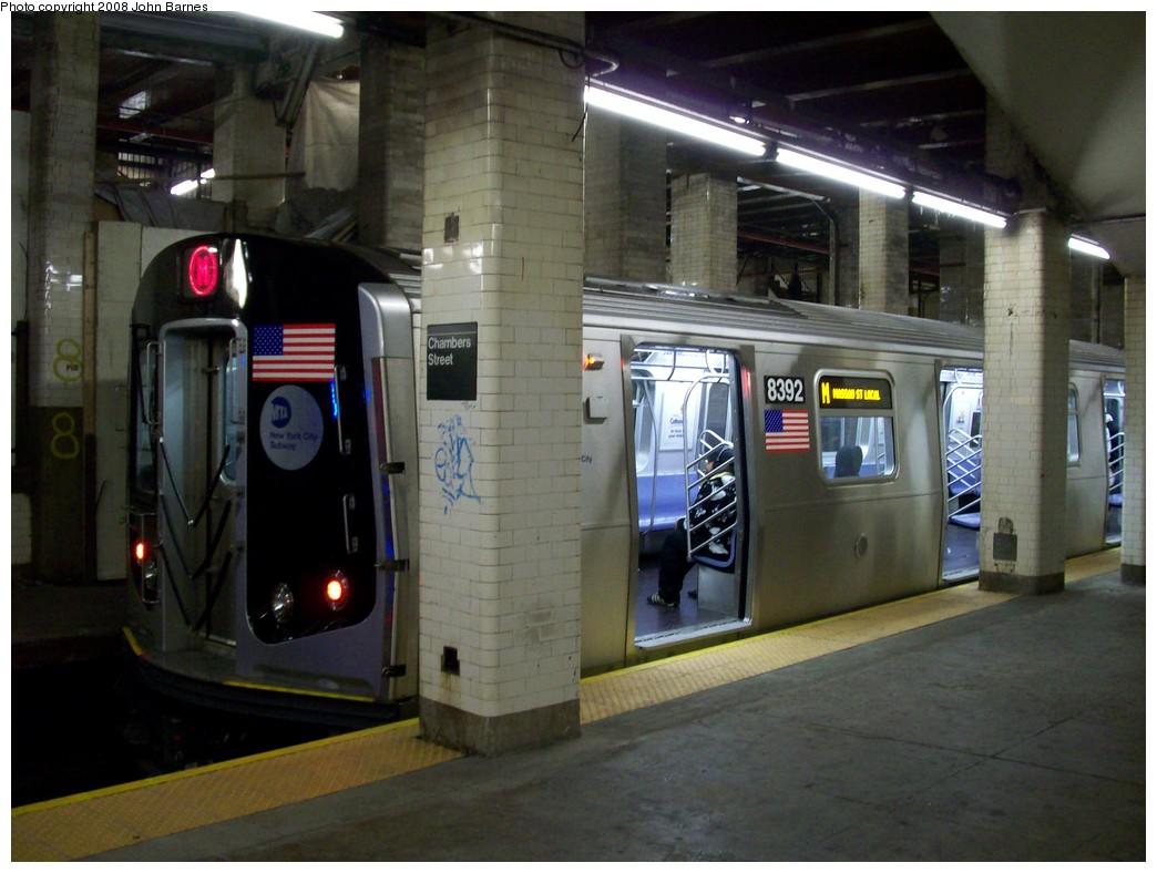 (191k, 1044x788)<br><b>Country:</b> United States<br><b>City:</b> New York<br><b>System:</b> New York City Transit<br><b>Line:</b> BMT Nassau Street/Jamaica Line<br><b>Location:</b> Chambers Street <br><b>Route:</b> M<br><b>Car:</b> R-160A-1 (Alstom, 2005-2008, 4 car sets)  8392 <br><b>Photo by:</b> John Barnes<br><b>Date:</b> 4/27/2008<br><b>Viewed (this week/total):</b> 1 / 3462