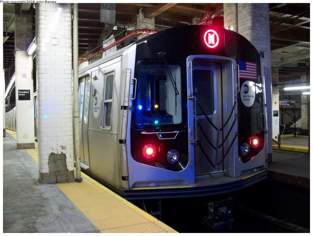 (213k, 1044x788)<br><b>Country:</b> United States<br><b>City:</b> New York<br><b>System:</b> New York City Transit<br><b>Line:</b> BMT Nassau Street/Jamaica Line<br><b>Location:</b> Chambers Street <br><b>Route:</b> M<br><b>Car:</b> R-160A-1 (Alstom, 2005-2008, 4 car sets)  8352 <br><b>Photo by:</b> John Barnes<br><b>Date:</b> 4/27/2008<br><b>Viewed (this week/total):</b> 0 / 2924