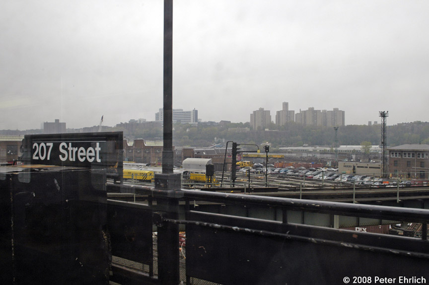 (126k, 864x574)<br><b>Country:</b> United States<br><b>City:</b> New York<br><b>System:</b> New York City Transit<br><b>Location:</b> 207th Street Yard<br><b>Photo by:</b> Peter Ehrlich<br><b>Date:</b> 5/2/2008<br><b>Notes:</b> With station sign in foreground.<br><b>Viewed (this week/total):</b> 0 / 828