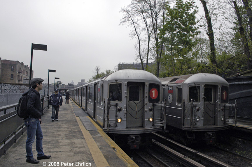 (190k, 864x574)<br><b>Country:</b> United States<br><b>City:</b> New York<br><b>System:</b> New York City Transit<br><b>Line:</b> IRT West Side Line<br><b>Location:</b> Dyckman Street <br><b>Car:</b> R-62A (Bombardier, 1984-1987)  2235 <br><b>Photo by:</b> Peter Ehrlich<br><b>Date:</b> 5/2/2008<br><b>Notes:</b> Inbound train.  With 1841 outbound.<br><b>Viewed (this week/total):</b> 0 / 1577