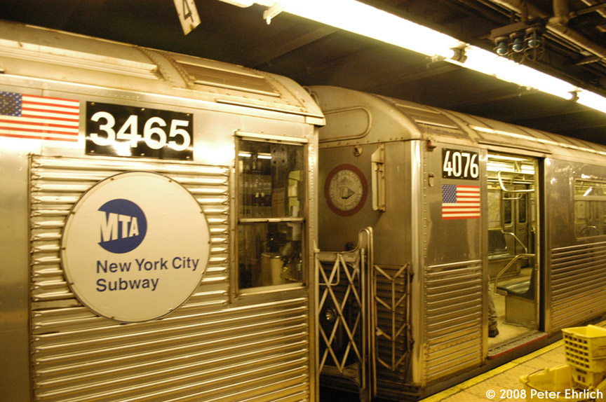 (216k, 864x574)<br><b>Country:</b> United States<br><b>City:</b> New York<br><b>System:</b> New York City Transit<br><b>Line:</b> IND 8th Avenue Line<br><b>Location:</b> 168th Street <br><b>Car:</b> R-32 (Budd, 1964)  3465 <br><b>Photo by:</b> Peter Ehrlich<br><b>Date:</b> 5/2/2008<br><b>Notes:</b> R32 3465 and R38 4076 trainlined.  Note different end logos and numbering styles.<br><b>Viewed (this week/total):</b> 4 / 2062