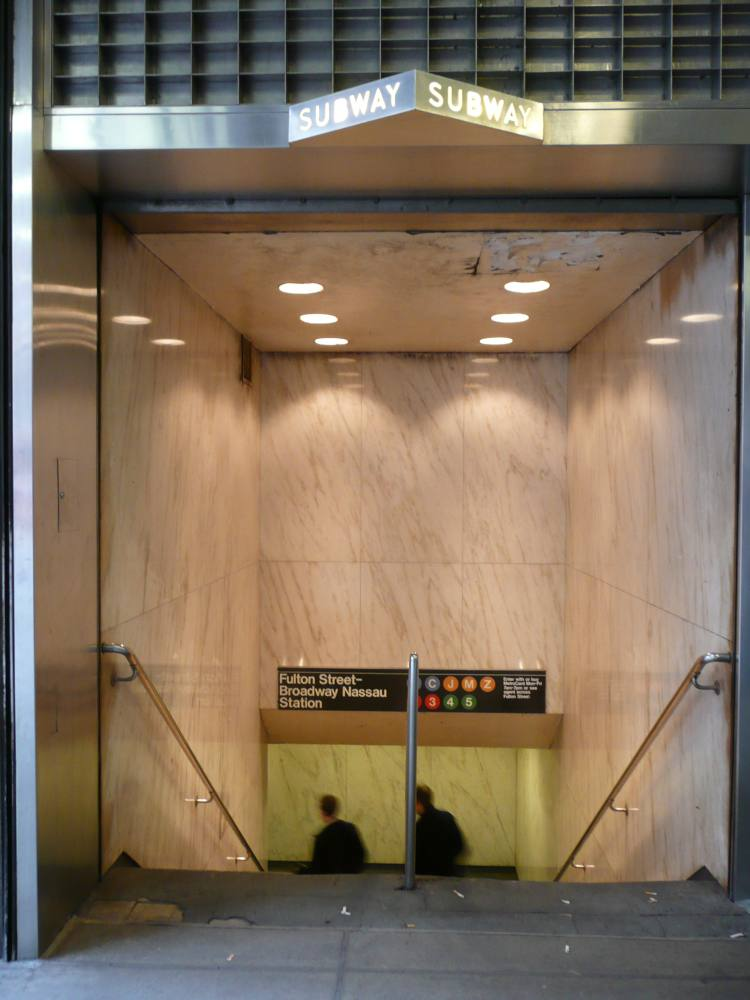 (80k, 750x1000)<br><b>Country:</b> United States<br><b>City:</b> New York<br><b>System:</b> New York City Transit<br><b>Line:</b> IRT West Side Line<br><b>Location:</b> Fulton Street <br><b>Photo by:</b> Robbie Rosenfeld<br><b>Date:</b> 5/5/2008<br><b>Notes:</b> Station entrance.<br><b>Viewed (this week/total):</b> 0 / 3692