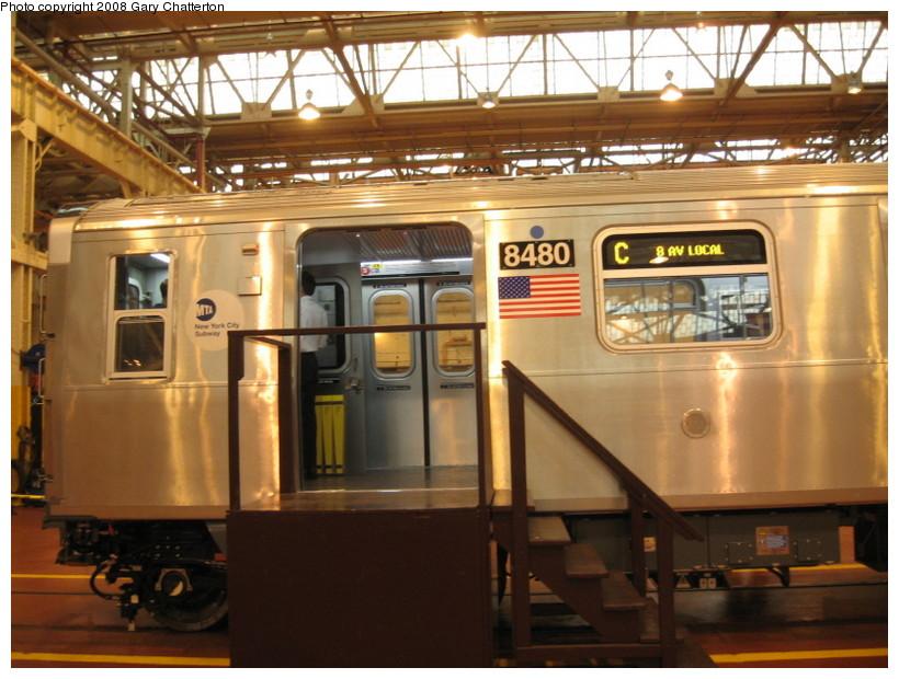 (147k, 820x620)<br><b>Country:</b> United States<br><b>City:</b> New York<br><b>System:</b> New York City Transit<br><b>Location:</b> Coney Island Shop/Overhaul & Repair Shop<br><b>Car:</b> R-160A-1 (Alstom, 2005-2008, 4 car sets)  8480 <br><b>Photo by:</b> Gary Chatterton<br><b>Date:</b> 4/12/2008<br><b>Viewed (this week/total):</b> 0 / 3783