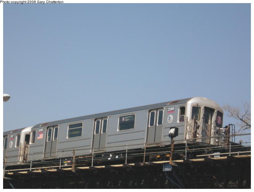 (87k, 820x620)<br><b>Country:</b> United States<br><b>City:</b> New York<br><b>System:</b> New York City Transit<br><b>Line:</b> IRT Flushing Line<br><b>Location:</b> Willets Point/Mets (fmr. Shea Stadium) <br><b>Route:</b> 7<br><b>Car:</b> R-62A (Bombardier, 1984-1987)  2095 <br><b>Photo by:</b> Gary Chatterton<br><b>Date:</b> 4/19/2008<br><b>Viewed (this week/total):</b> 0 / 1133