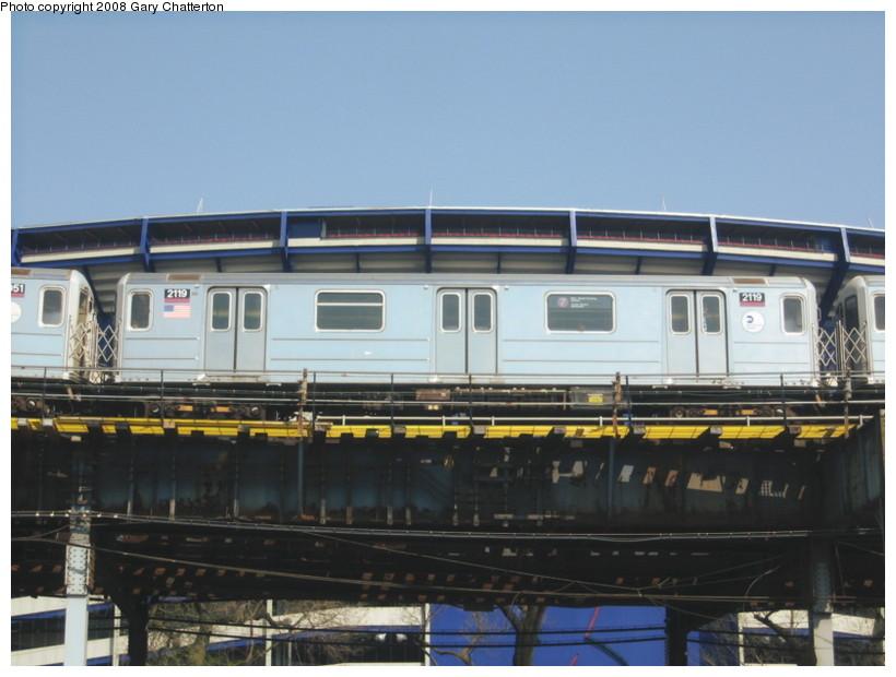 (115k, 820x620)<br><b>Country:</b> United States<br><b>City:</b> New York<br><b>System:</b> New York City Transit<br><b>Line:</b> IRT Flushing Line<br><b>Location:</b> Willets Point/Mets (fmr. Shea Stadium) <br><b>Route:</b> 7<br><b>Car:</b> R-62A (Bombardier, 1984-1987)  2119 <br><b>Photo by:</b> Gary Chatterton<br><b>Date:</b> 4/19/2008<br><b>Viewed (this week/total):</b> 1 / 1224
