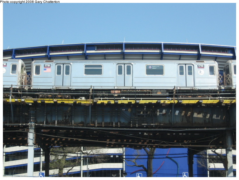(139k, 820x620)<br><b>Country:</b> United States<br><b>City:</b> New York<br><b>System:</b> New York City Transit<br><b>Line:</b> IRT Flushing Line<br><b>Location:</b> Willets Point/Mets (fmr. Shea Stadium) <br><b>Route:</b> 7<br><b>Car:</b> R-62A (Bombardier, 1984-1987)  1719 <br><b>Photo by:</b> Gary Chatterton<br><b>Date:</b> 4/19/2008<br><b>Viewed (this week/total):</b> 0 / 1394